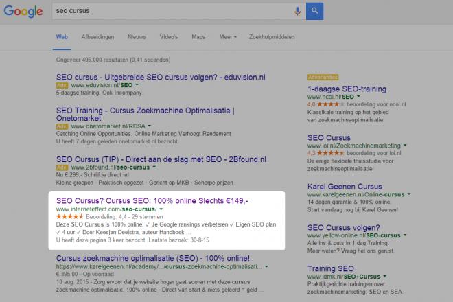 SEO cursus op 1 google