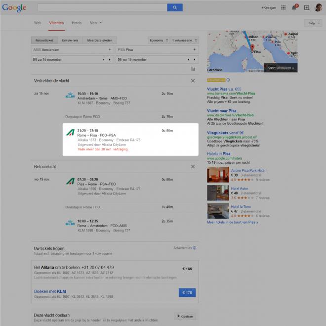 Google.nl/flights: Alitalia vaak vertraagd