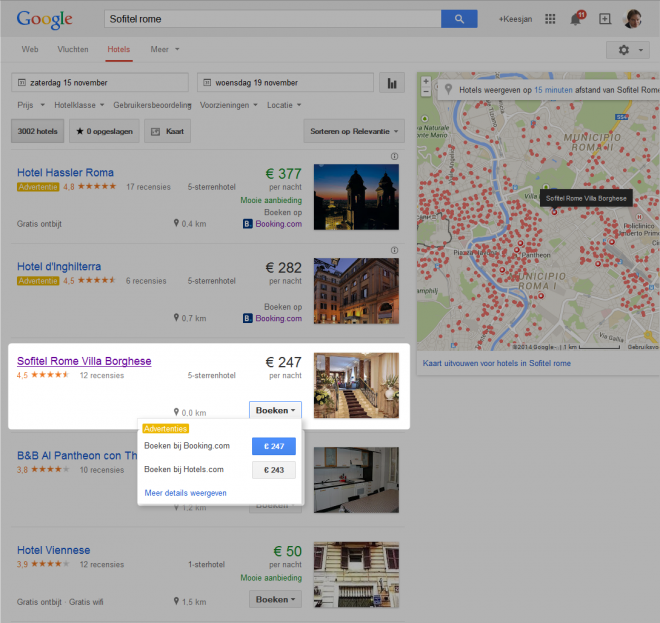 google.nl/hotels/ resultaat Sofitel rome