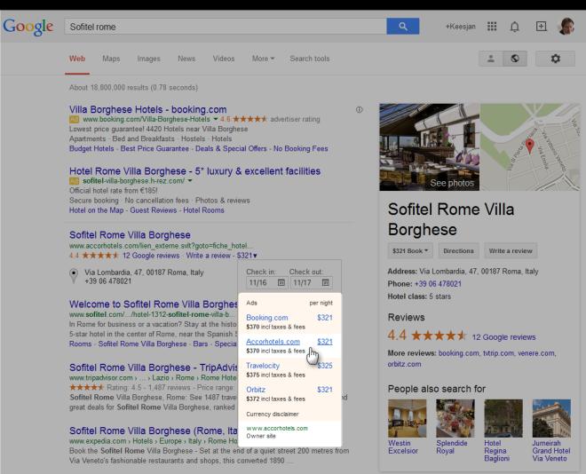 google maps resultaat: hotel met eigen booking prijs