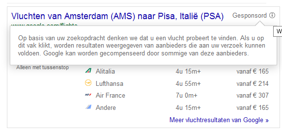 google.nl/flights wat is betaald en wat niet