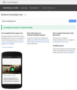 mobiel vriendelijk test Google geslaagd