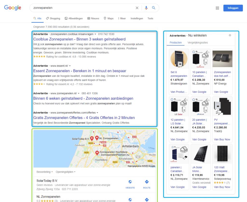 Google Ads - zonnepanelen