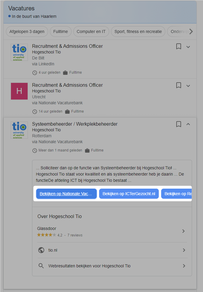 cta knoppen in Google for jobs