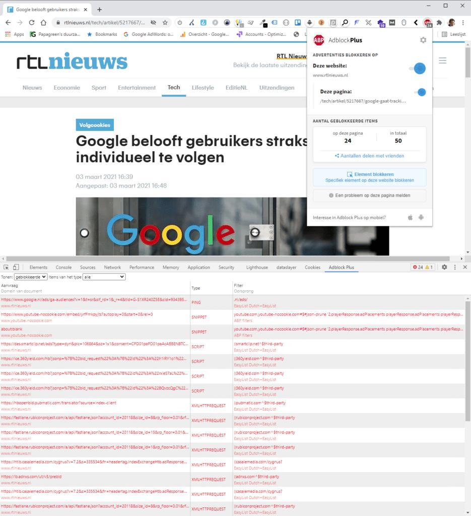 adblockerplus blokkeert op rtlnieuws.nl  advertetnies en data collectors en third party cookies